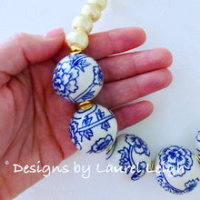 Load image into Gallery viewer, Blue and White Chunky Floral Statement Necklace - Gold - Ginger jar
