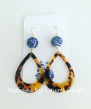 Load image into Gallery viewer, Chinoiserie Tortoise Shell Earrings - Oval Hoops - Ginger jar