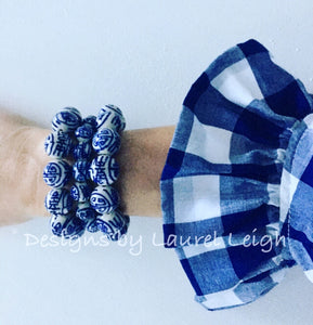 Blue and White Chinoiserie Chunky Longevity Symbol Beaded Statement Bracelet - Ginger jar
