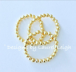 Gold Dainty Bead Bracelet Stack - Set of 3 - Ginger jar