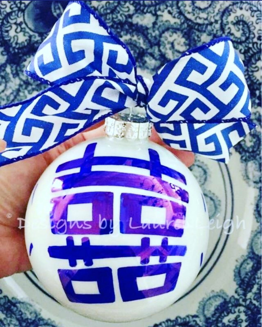 Chinoiserie Hand Painted JUMBO SIZE Christmas Ornament - Pagoda or Double Happiness Symbol Designs - Designs by Laurel Leigh