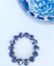 Load image into Gallery viewer, Blue and White Chinoiserie Peony Flower Beaded Statement Bracelet - Ginger jar