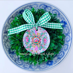 Rose Medallion Christmas Ornament - Traditional Plate