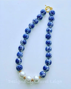 Blue and White Chinoiserie Jumbo Pearl Chunky Statement Necklace - Ginger jar