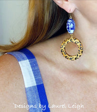 Load image into Gallery viewer, Chinoiserie Leopard Print Beaded Hoop Earrings