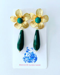 Green Floral Teardrop Earrings - Malachite & Jade Gemstones - Ginger jar