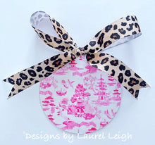 "Load image into Gallery viewer, Chinoiserie Christmas Ornament- 4"" Watercolor Pink Willow Pattern"