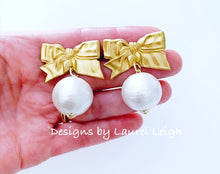 Load image into Gallery viewer, Gold Vintage Bow & Jumbo Pearl Drop Earrings