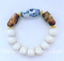 Load image into Gallery viewer, Blue and White Chinoiserie Bamboo Statement Bracelet - Ginger jar