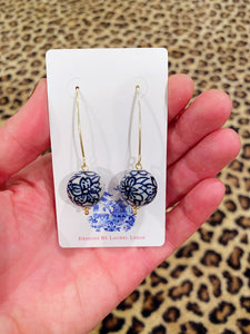 Chinoiserie Blue & White Floral Bead Dangle Earrings