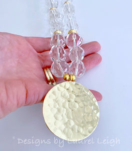 Chunky Crystal & Gold Pendant Statement Necklace - Ginger jar