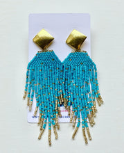 Load image into Gallery viewer, Dressy Seed Bead Tassel Statement Earrings - Gold & Black/Gray/Turquoise/White/Fuchsia - Ginger jar