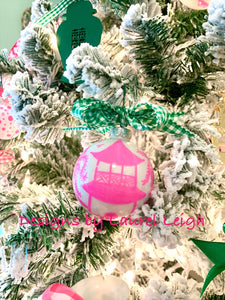Pink Chinoiserie Hand Painted Christmas Ornament - Choose Design - Small Size