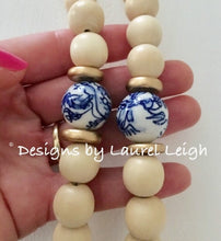 Load image into Gallery viewer, Chinoiserie Leopard Print Tassel Statement Necklace - Natural - Ginger jar