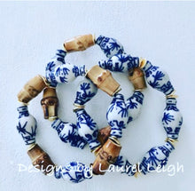 Load image into Gallery viewer, Blue and White Chinoiserie Bamboo Ginger Jar Statement Bracelet - Ginger jar