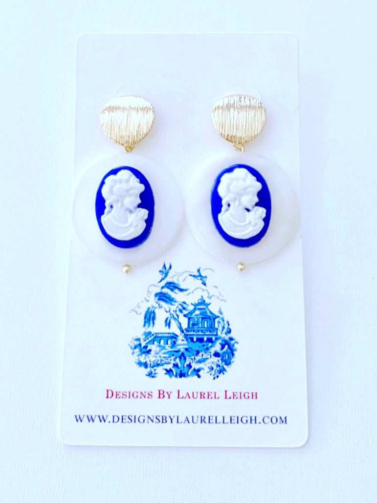 Blue & White Mother of Pearl Cameo Earrings - Royal Blue - Ginger jar
