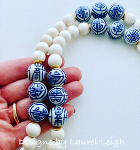 Blue and White Chinoiserie Tassel Statement Necklace - 3 Colors - Ginger jar