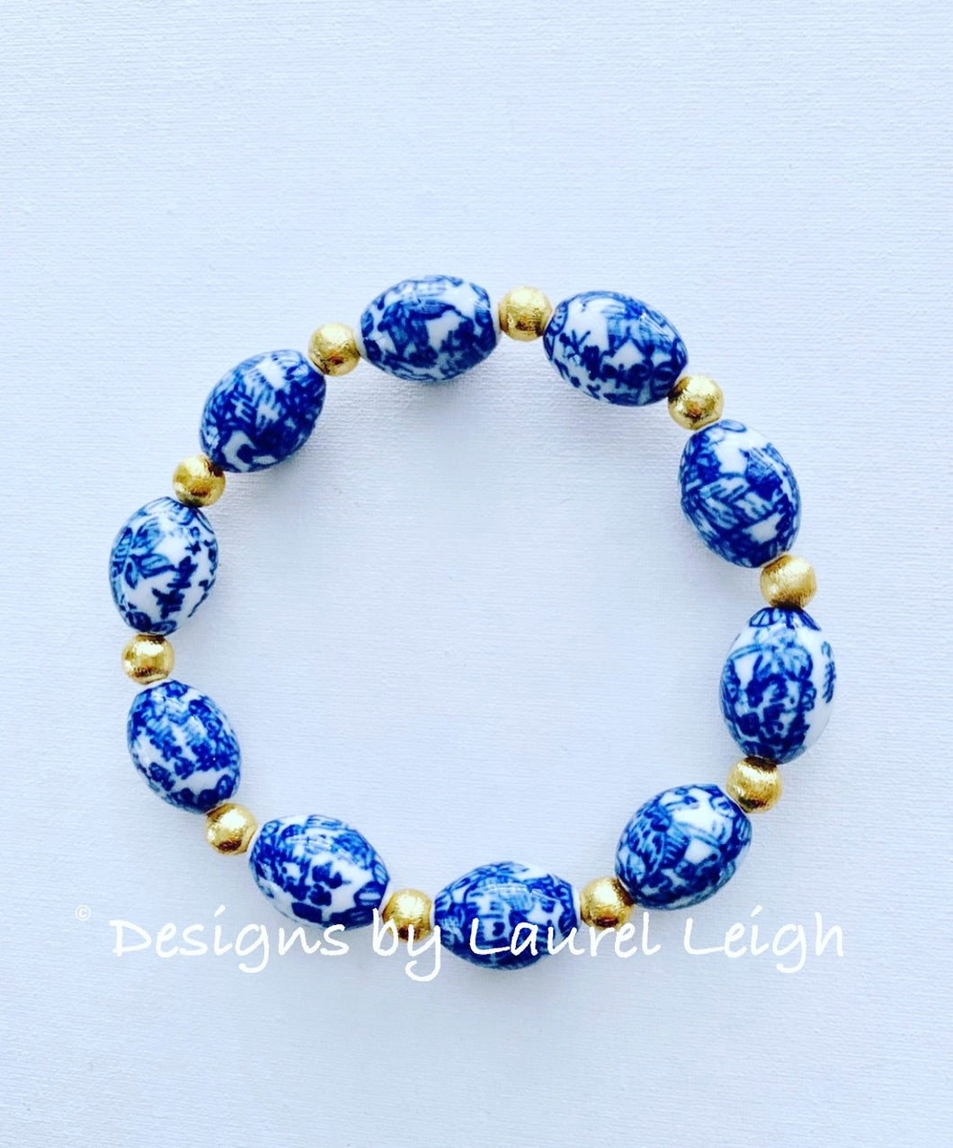Blue and White Chinoiserie Floral Calligraphy Vintage Bead Statement Bracelet - Ginger jar