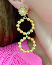 Load image into Gallery viewer, Gold Floral and Pearl Beaded Drop Hoops - Two Styles - Ginger jar