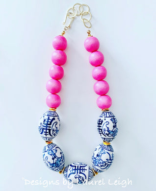 Blue and White Chinoiserie Chunky Statement Necklace - Bright Bubblegum Pink