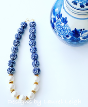 Load image into Gallery viewer, Blue and White Chinoiserie Jumbo Pearl Floral Statement Necklace