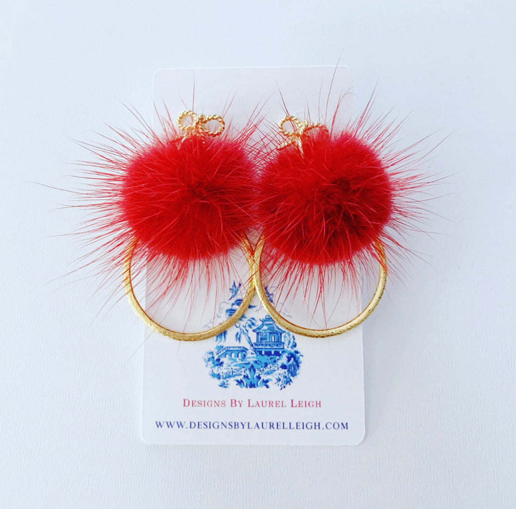 Red and Gold Bow Mink Fur Pompom Earrings