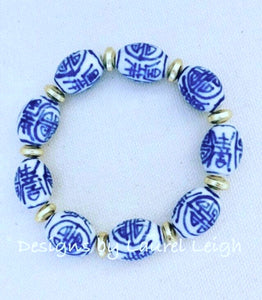 Blue and White Chinoiserie Vintage Barrel Bead Statement Bracelet - Ginger jar