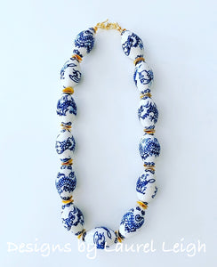 Chunky Blue and White Chinoiserie Dragon Statement Necklace - Ginger jar