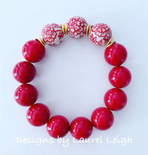 Load image into Gallery viewer, Chinoiserie Red Peony Flower & Pearl Beaded Statement Bracelet