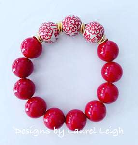 Chinoiserie Red Peony Flower & Pearl Beaded Statement Bracelet