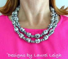 Load image into Gallery viewer, Chinoiserie Double Strand Ginger Jar Statement Necklace - Black & White