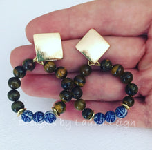 Load image into Gallery viewer, Chinoiserie Beaded Post Hoops - Tiger's Eye - Designs by Laurel Leigh