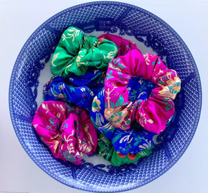 Chinoiserie Hair Scrunchies - Ginger jar