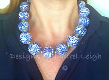 Load image into Gallery viewer, Blue and White Chunky Chinoiserie Symbol Statement Necklace - Two Bead Options - Ginger jar
