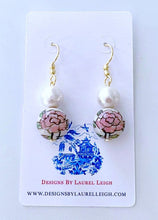 Load image into Gallery viewer, Chinoiserie Cotton Pearl Drop Earrings - Pink Peony - Ginger jar