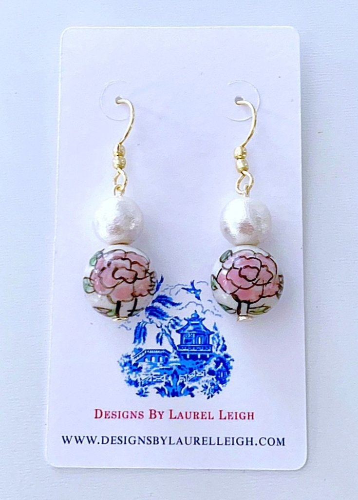 Chinoiserie Cotton Pearl Drop Earrings - Pink Peony - Ginger jar