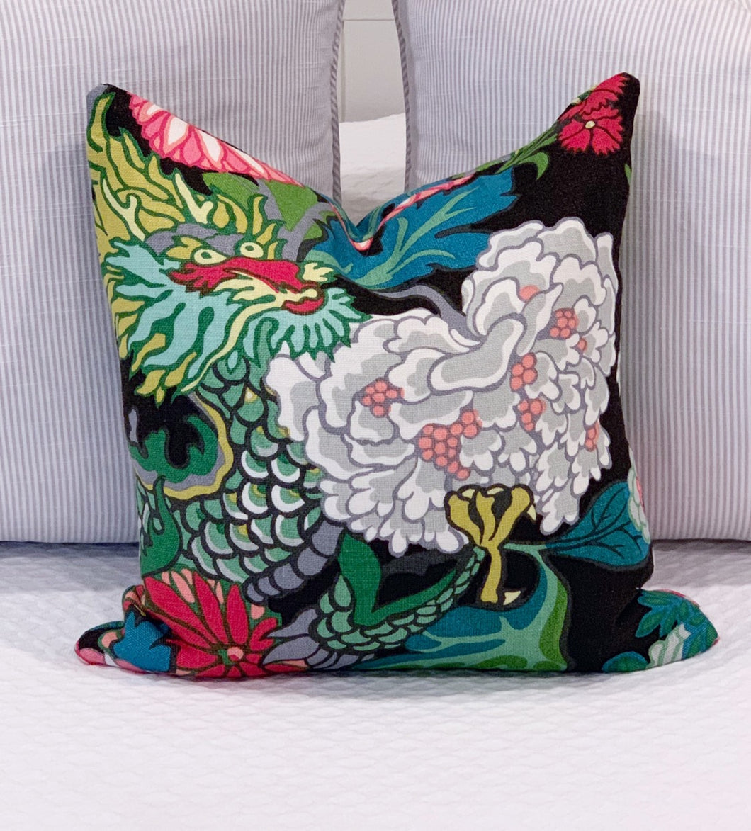 Designer Fabric Pillow Cover - Schumacher Chiang Mai Dragon  (Single) - Ebony Black on BOTH Sides - Ginger jar