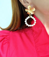 Load image into Gallery viewer, Freshwater Pearl Hoops - Gold Floral Posts - Ginger jar