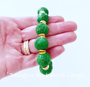 Green & Gold Chinoiserie Cinnabar Beaded Statement Bracelet - Ginger jar