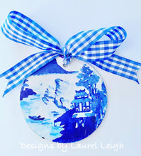 "Load image into Gallery viewer, Blue and White Chinoiserie Christmas Ornament- 4"" Canton Watercolor Art Pattern"