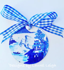 "Blue and White Chinoiserie Christmas Ornament- 4"" Canton Watercolor Art Pattern"