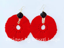 Load image into Gallery viewer, Gemstone Fan Tassel Earrings - Red & Black Game Day - Ginger jar