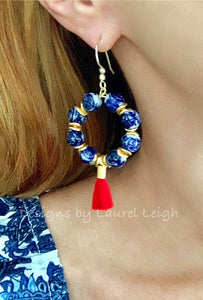 Chinoiserie Beaded Hoop Tassel Earrings - Red - Ginger jar