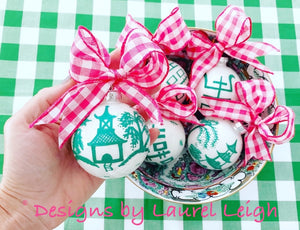 Pink & Green Chinoiserie Hand Painted Christmas Ornament - Pink or Green Paint - Regular Size - Ginger jar
