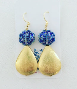 Chinoiserie Symbol Teardrop Earrings - Gold & Royal Blue - Ginger jar