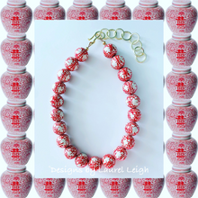 Load image into Gallery viewer, Chinoiserie Double Happiness Statement Necklace - Red