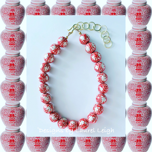 Chinoiserie Double Happiness Statement Necklace - Red
