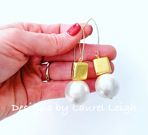 Gold & Jumbo Cotton Pearl Statement Earrings - Ginger jar