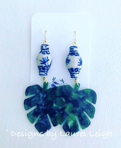 Chinoiserie Marbled Tortoise Shell Tropical Palm Leaf Statement Earrings - Green - Designs by Laurel Leigh