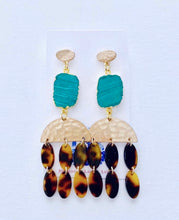 Load image into Gallery viewer, Green Malachite & Tortoise Chandelier Statement Earrings - Ginger jar